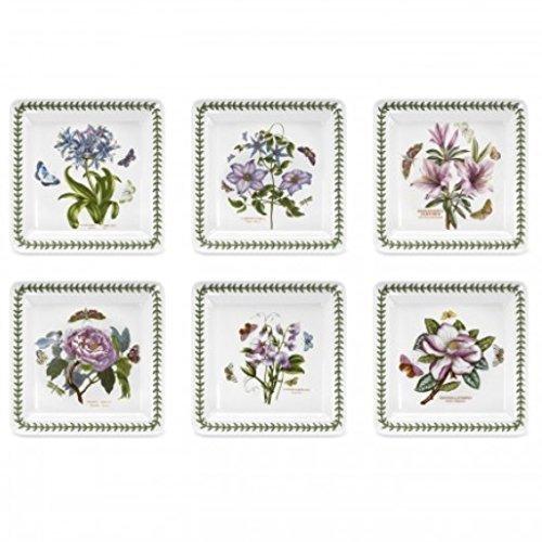 Portmeirion BG76010-X Botanic Garden Lot de 6 assiettes carrées en céramique Blanc 26,7 cm