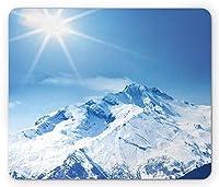 マウンテンマウスパッド防傷機能、ビッグマウンテンの写真' s雪に覆われたピークと空の太陽魔法の自然の風景アート、標準サイズの長方形滑り止めラバーマウスパッド防傷機能、ホワイトブルー