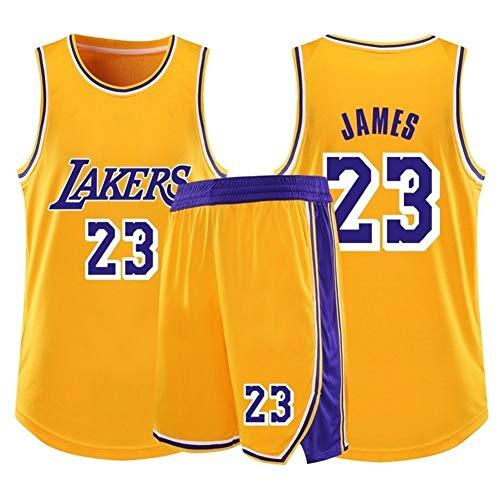 Lebron James # 23 Los Angeles Lakers - Basketball Trikots Set Retro Sommer Basketball Uniform Ärmelloses T-Shirt (Color : G, Size : XL)