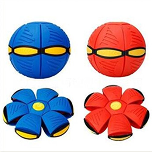 GracesDawn Novelty Flying UFO Flat Throw Disc Ball Toy 6 LED Lights Dazzling Performances Fancy Soft Kids Outdoor Spiderman (Blue)