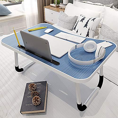 Mesa de Cama para portátil, Escritorio de Cama portátil Plegable, Bandeja de Cama portátil con Patas Plegables para Comer, Escribir, Leer, Trabajar en Cama/sofá/Nordic Blue