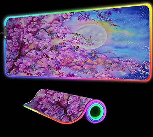 Cherry Blossom Landscape Mouse Pad RGB Gaming LED Accesorios Computadora Alfombra Grande Jugadores Tapete de Escritorio Retroiluminado 35.43 Pulgadas X15.74 Pulgadas