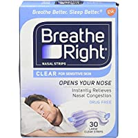 海外直送肘 Breathe Right Nasal Strips Clear Sensitive Skin, Large, 30 each