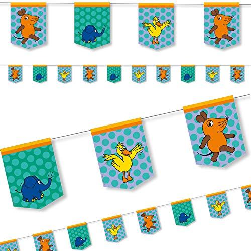 DH-Konzept Die Maus Wimpelkette 3,5 m // Kindergeburtstag Sendung mit der Maus
