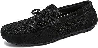 XFQ Chaussures Bateau Homme, Chaussures en Cuir D'été Casual Slip-on Souple Sole Walking Driving Vacances,Noir,38EU
