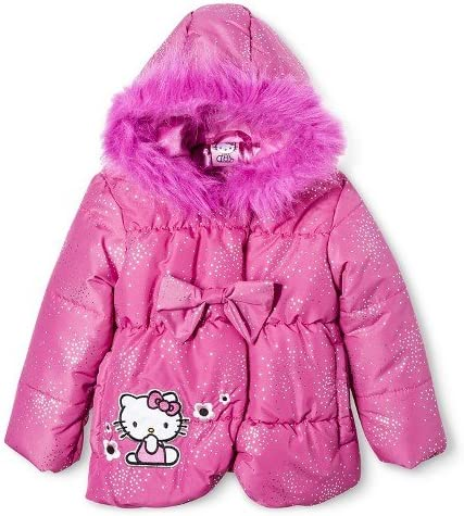 Hello Kitty Toddler Girls' Puffer Jacket with Faux Fur Hood - Pink Size 2t