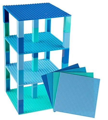 Stapelbare Premium-Bauplatten - kompatibel mit allen großen Marken - geeignet für Turm-Konstruktionen - Set aus 4 Platten - je 6