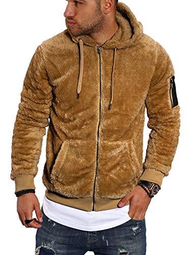 behype. Herren Teddy-Fell Sweat-Jacke Sweatshirt weicher Hoodie mit Kapuze Fleece-Jacke 40-MSPHU (XXL, Camel)