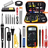Soldering Iron Kit Welding Tool, Soldering Kit with LCD Digital Multimeter, 60W Soldering Iron with 5 Extra Tips, Stand, Desoldering Pump, Solder, Wire Stripper Cutter, Tweezers, Tape, Tool Bag