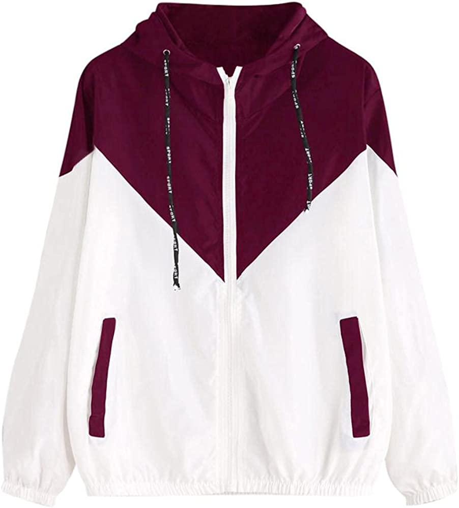 Women's Casual Color Block Drawstring Hooded Windbreaker Jacket, Pockets Sport Coat Plus Size Zip Up Hoodies Outerwear