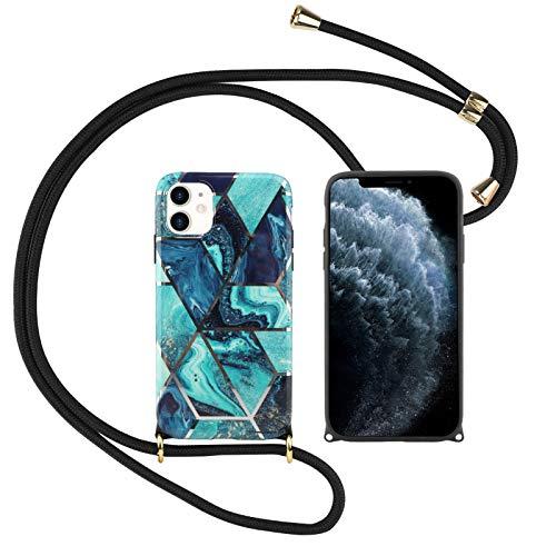 Suhctup Compatible con iPhone 12 Mini Funda con Cuerda TPU Suave Silicona Mármol Diseño Carcasa con Colgante Ajustable Collar Correa de Cuello Cadena Cordón Bumper Caso,A2