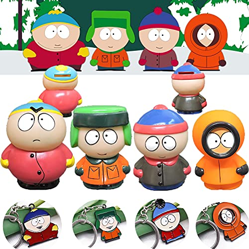 South Park Figure Set, South Park MINI Piggy Bank, Come With 4PCS keychain, 8-9cm 4 Pcs South Park Collectible Figurines, Stan Kyle Kenny Cartman Anime Toy, Collectible Model Toys for fans