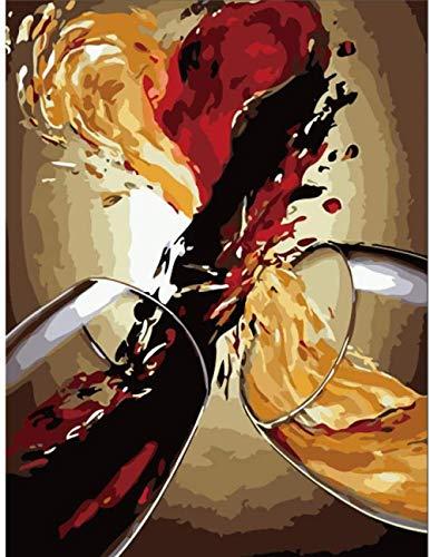 Lsdakoop Malen nach Zahlen für Erwachsene DIY Ölgemälde-Kits Feier Weinglas Malen nach Zahlen Zeichnen auf Leinwand Gemalte Kunst Wohnkultur Geschenke