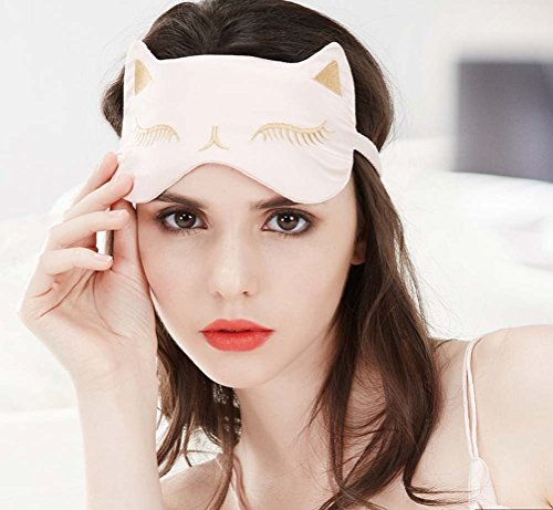 Seiden-Augenmaske für schlafende Frauen, sexy Schlafmaske, Katzen-Design, blockiert Licht, glattes Gefühl, doppelseitig anwendbar, 100 % reine Seide, Rosa / Schwarz / Rot
