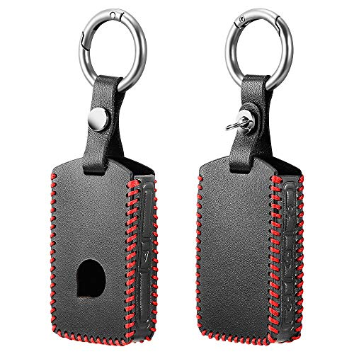 KJLTLD Leder Auto Schlüsseletui/Passform für Volvo xc90 2017 2018 s90 v90 t5 t6 2015 2016 t8 xc60 Schutzhülle Haut Autohalter Schlüssel Zubehör