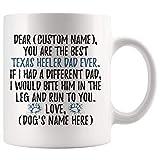 Personalizado Texas Heeler Papás Aussie Shepherd Heeler Propietario Taza de café Texas Heeler Mens Texas Heeler Dog...