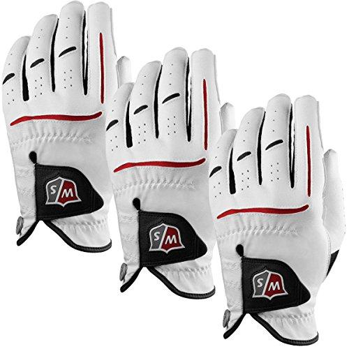 Wilson Staff 2014 Grip Plus Golfhandschuhe für Herren, linke Hand, Weiß, 3er-Pack, mittelgroß