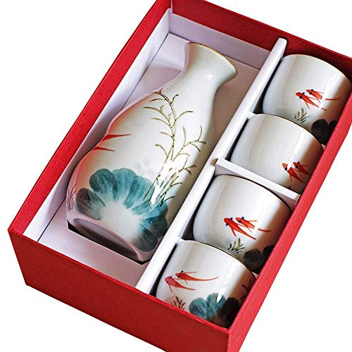 DONGYAO Juego de sake, 5 juegos de sake, juego de sake con embalaje – diseño pintado a mano de porcelana/artesanía copa de vino mejor regalo