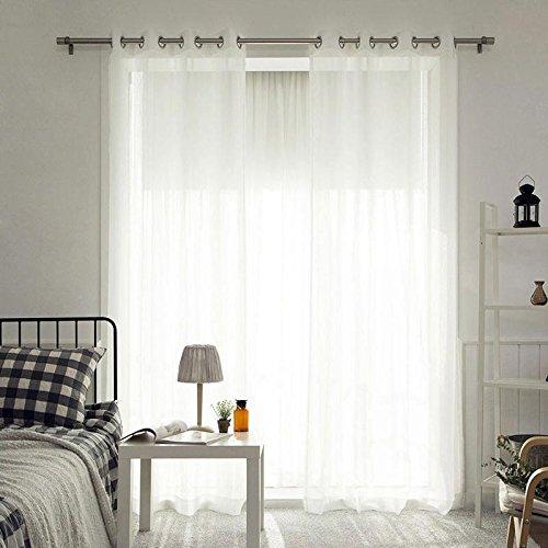 Calistouk - Cortina de tela de lino para ventana, color blanco