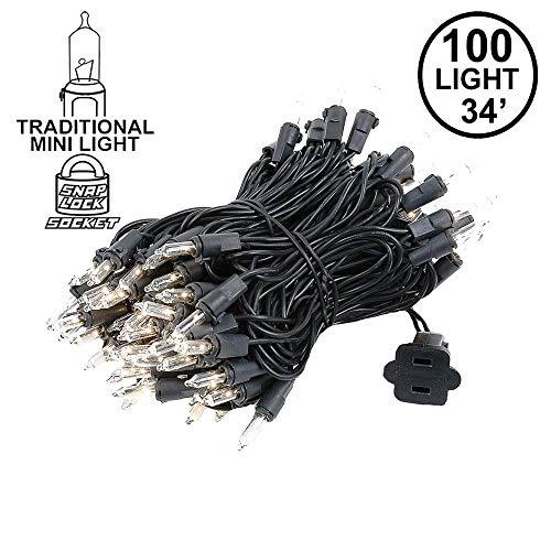 Novelty Lights 100 Light Clear Christmas Mini Light Set, Black Wire, 34' Long