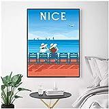 ZNNHERO Nizza Frankreich Reise Leinwand Wandkunst Druck