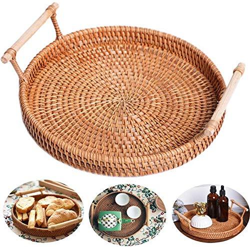 ZHER-LU - Bandeja redonda tejida con asa para servir frutas, pan, cesta de ratán, cesta redonda para servir cenas, fiestas, café, desayuno 28*4cm