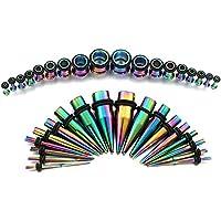 Vcmart 36pc Arco Iris Titanio Oreja calibres Kit tapers de Acero Inoxidable con Tapones 14g-00g Estiramiento Kit