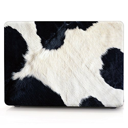 HRH 3D Dairy Cow Hair Pattern Design Laptop Body Shell Protective PC Hard Case for MacBook Air 11 inch 11.6'(Models: A1370 and A1465)