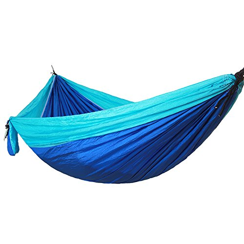 Bureze double personne Hamac Portable Parachute Tissu en nylon de voyage ultraléger Camping Hamac pour meubles d'extérieur décontracté à suspendre Lit Hamma