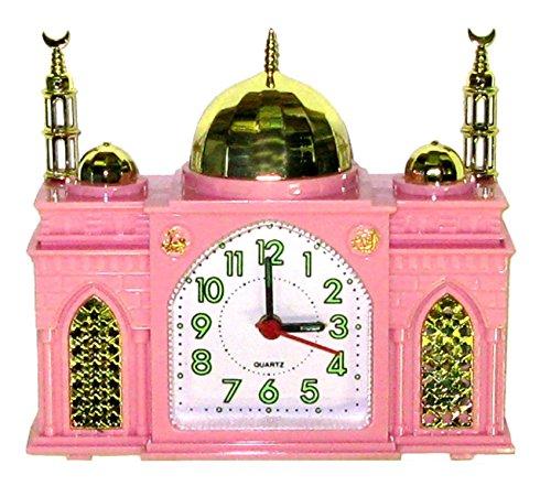 The Friendly Trading Company Réveille-Matin - en Forme comme Une Mosquée - Sonne Azan Appel Islamique à la Prière - Horloge Musulman Rose