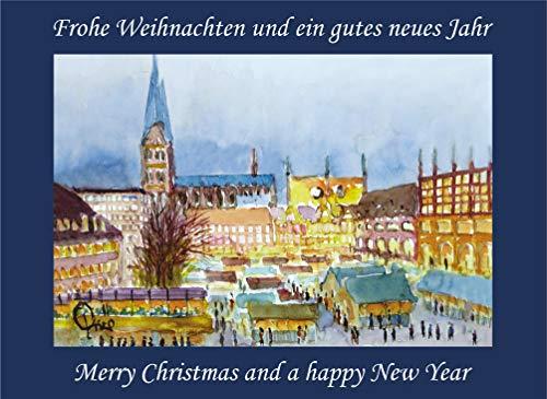 10 Weihnachtskarten mit Kuvert, Grußkarten, Glückwunschkarten - Lübeck Weihnachtsmarkt