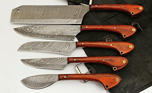 1033 Custom Made Damascus Steel 5 pcs Professional Kitchen...
