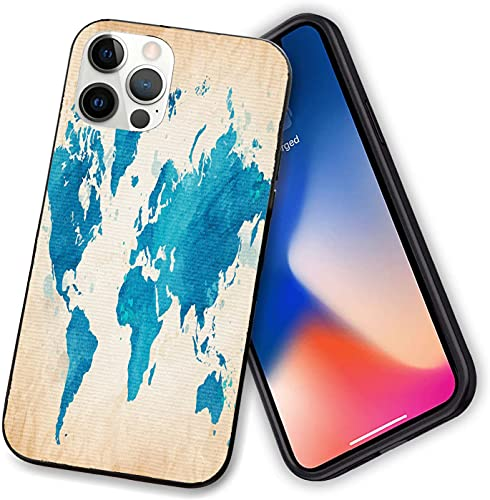 Compatible with iPhone 12 Case Cover,Artistic Vintage World Map with Watercolor Brushstrokes on Old Backdrop,Shockproof Soft TPU Bumper Phone Case for iphone 12 pro max-6.7 inch