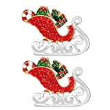 TENDYCOCO 2pcs Christmas Santa Sleigh Badge Brooches Christmas Brooches Pin Alloy Multicolor Rhinestone Brooches Kids Party Favors Gifts for Christmas Party Decoration