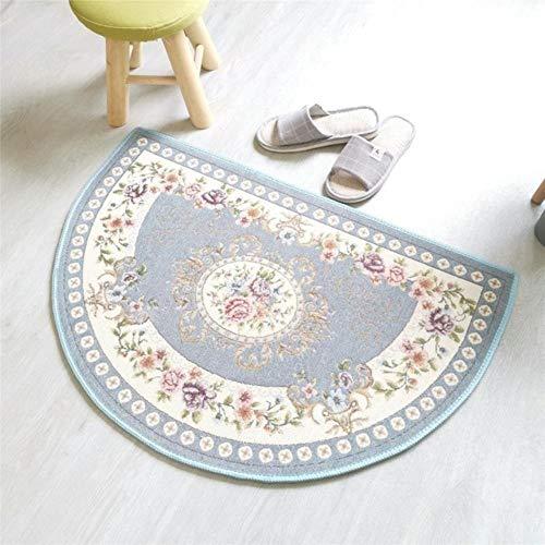 MZW rutschfeste Fußmatte Wohnzimmer Schlafzimmer Nachttisch Bodenmatte Home Hotel Dekor Halbrunder Teppich Europäischer Jacquard Oval Teppich Teppiche, 1,60x90cm