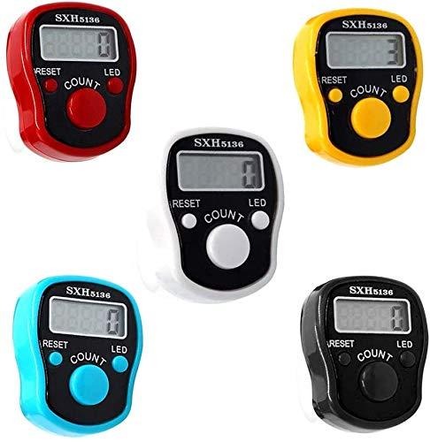 CG Tally Finger Counters - 5 Digitale LED-Finger-C******* mit digitaler Elektronische Finger Zähler Hand Tally Mini-Handzähler mit LCD-Display Fingerzähler für muslimisches Gebet Case-5 Pack