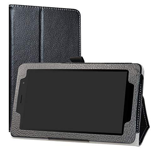 """Alcatel 1T 7 Inch Funda,LiuShan Folio Soporte PU Cuero con Funda Caso para 7"""" Alcatel 1T 7 Inch 8068(Not fit Alcatel 1T 8082 10inch) Android Tablet,Negro"""