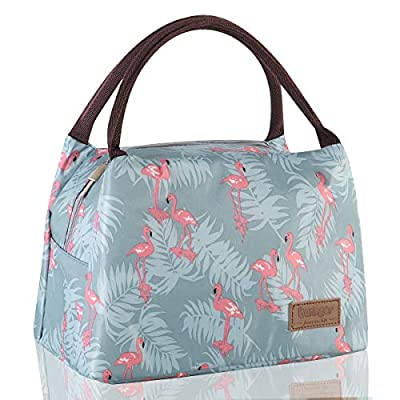 Buringer Reusable Insulated Lunch Bag Cooler Tote Box Meal Prep for Men & Women Work Picnic or Travel (Blue Flamingos Large Size) from