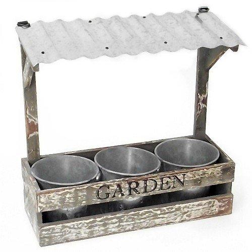 Jardinière rectangulaire rustique en bois avec 3 pots et toit en étain – Jardin 31 cm
