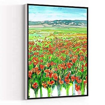 Bathroom Decorations,Wall Paintings For Living Room,Poppy Field Art Print,California Poppies Watercolor Painting,California Landscape Wall art,16  x24   Framed Modern Canvas Wall Art,