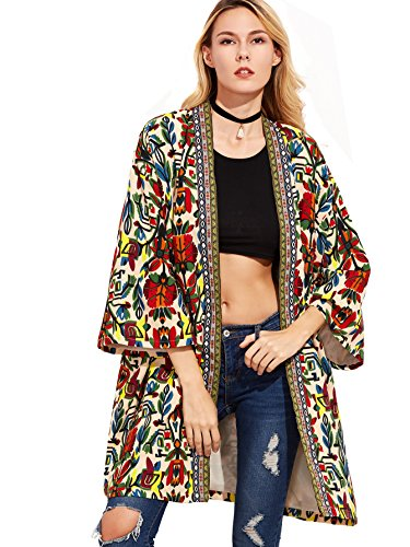Floerns Women's Open Front Tribal Print Cardigan Thin Coat Multi S