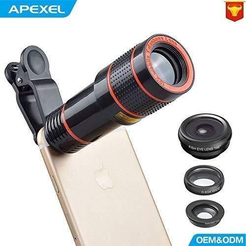 SXZHSM mobiele telefoon conversie Lens, 12 keer Telephoto Fisheye groothoek Macro Universele externe mobiele telefoon Lens Surveillance camera's