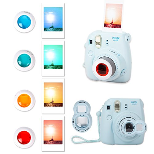 Leebotree Camera Accessories Compatible with Instax Mini 9 or Mini 8 8+ Include Album/Selfie Lens/Filters/Wall Hang Frames/Film Frames/Border Stickers/Corner Stickers (Ice Blue without Bag)