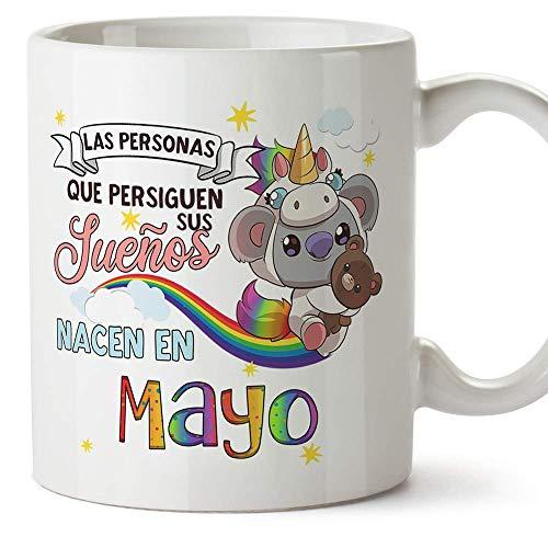 MUGFFINS Taza de Cumpleaños Koala mes de Mayo - Detalles Desayuno Feliz Cumpleaños Aniversario. Cerámica 350 mL