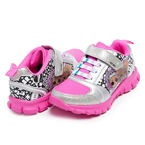 L.O.L. Surprise! Girl's Athletic Sneaker | Little Kid's Comfortable, Rubber Sole, Printed Shoes | Beats & Soul Babe Black/Fuchsia, 11 Little Kid
