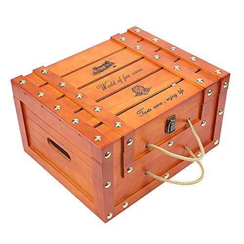 MERIGLARE Caja de Vino de Madera Vintage, Regalo de Almacenamiento, Portador de Vino, Arte Artesanal de General