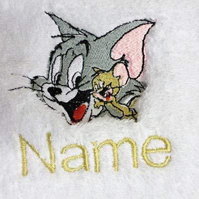 EFY Peignoir à capuche pour enfant avec logo TOM + JERRY et nom de votre choix en rose 2, 4, 6, 8, 10 ou 12 ans (8 ans)