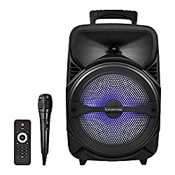 """top rated Sound Town 8 """"Portable 2-way speaker system, built-in battery, 1 cable microphone,… 2021"""
