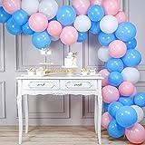PartyWoo Ballon Rose Bleu Blanc, 100 pcs 10 Pouces Ballon Bleu, Ballon Rose, Ballon Baudruche Blanc, Ballon Rose Bleu, Ballon...