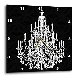 3dRose dpp_164675_1 Chic White Chandelier with Black Damask-Wall Clock, 10 by 10-Inch